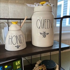 Rae Dunn Bee canister and honey pot.